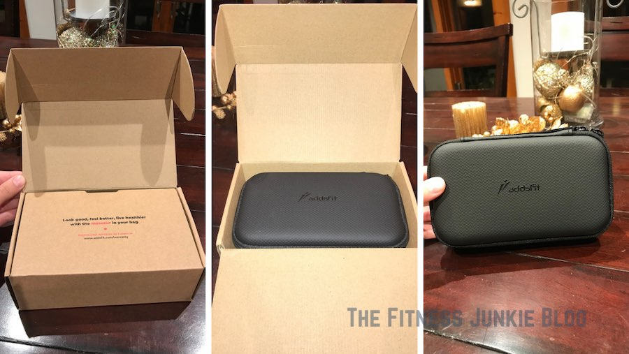 Three images of the addsfit box being opened.