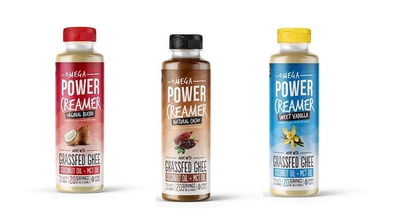 bottles of the different omega powercreamer flavors