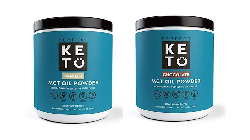 two containers of perfect keto mix