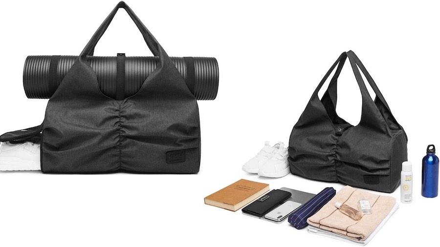 Gym bag with yoga mat holder