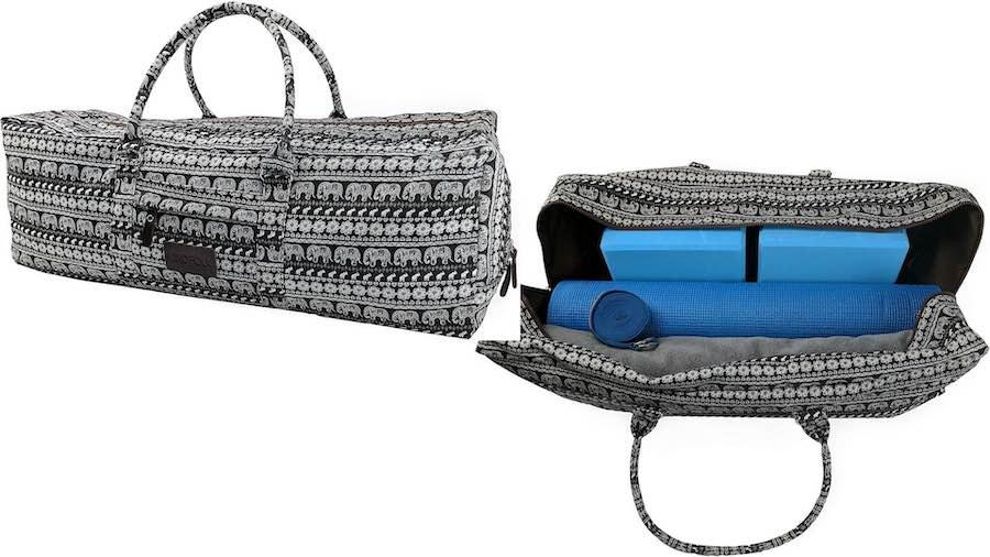 Kindfolk Yoga Mat Duffle Bag with yoga mat, blocks, and yoga towel inside