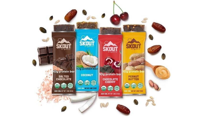 4 different flavors of Skout protein bars.