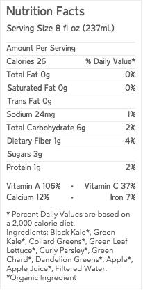 Chef V Green Juice Nutrition Label