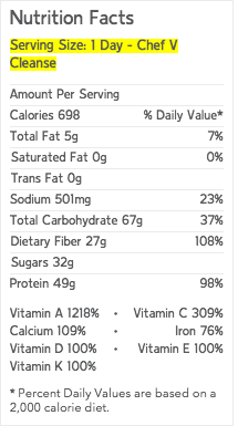 Chef V Cleanse Nutritional Label