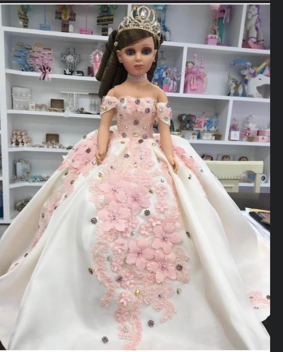 Doll or Bear with Ivory and Blush Pink 3D flowers