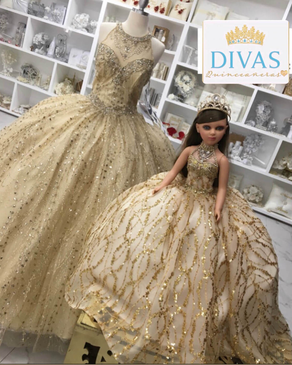 Doll or Bear with Gold Halter Top Dress