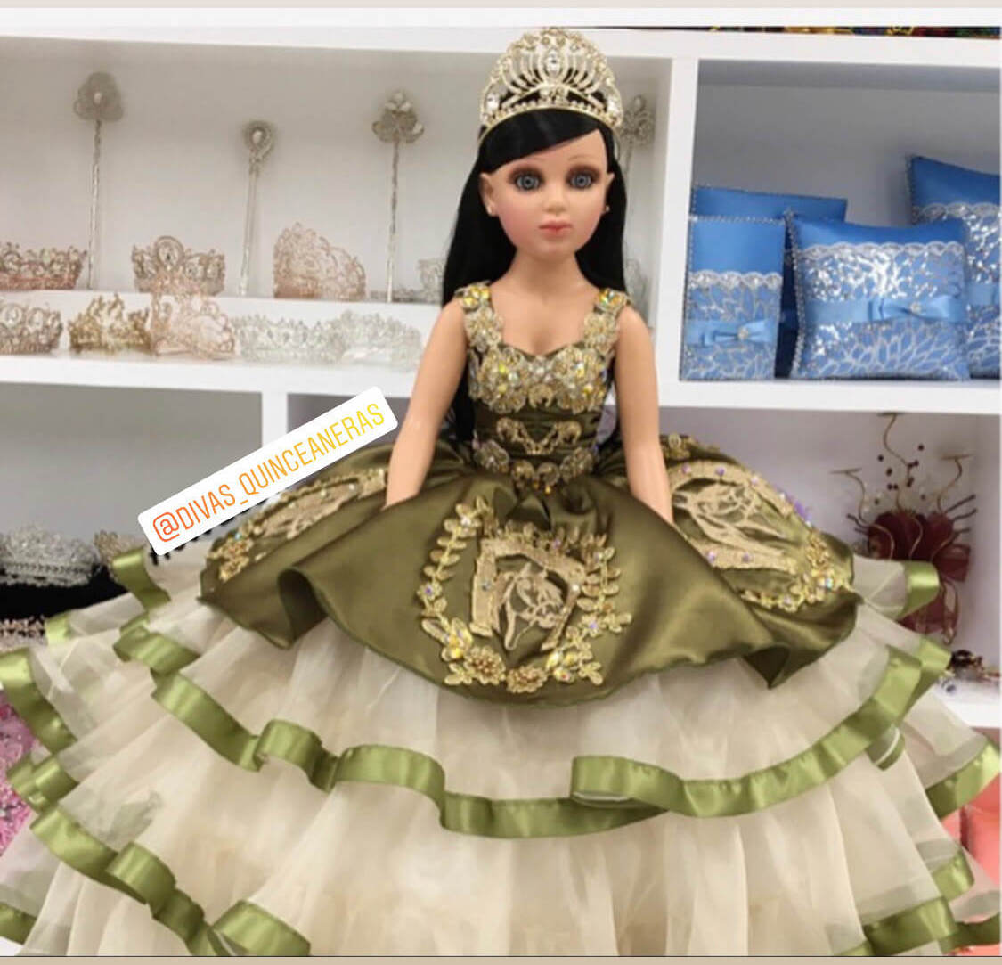 Doll or Bear with Ragazza Green Olive Dress