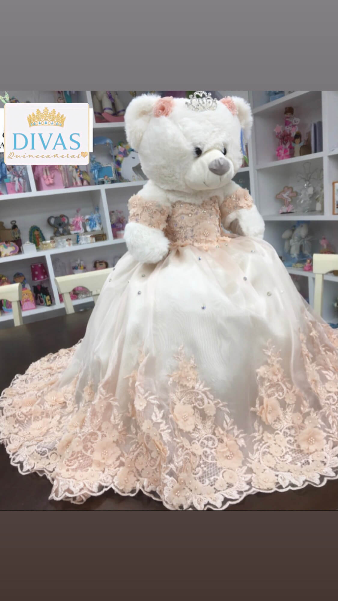 Doll or Bear in White dress with Pink Flowers