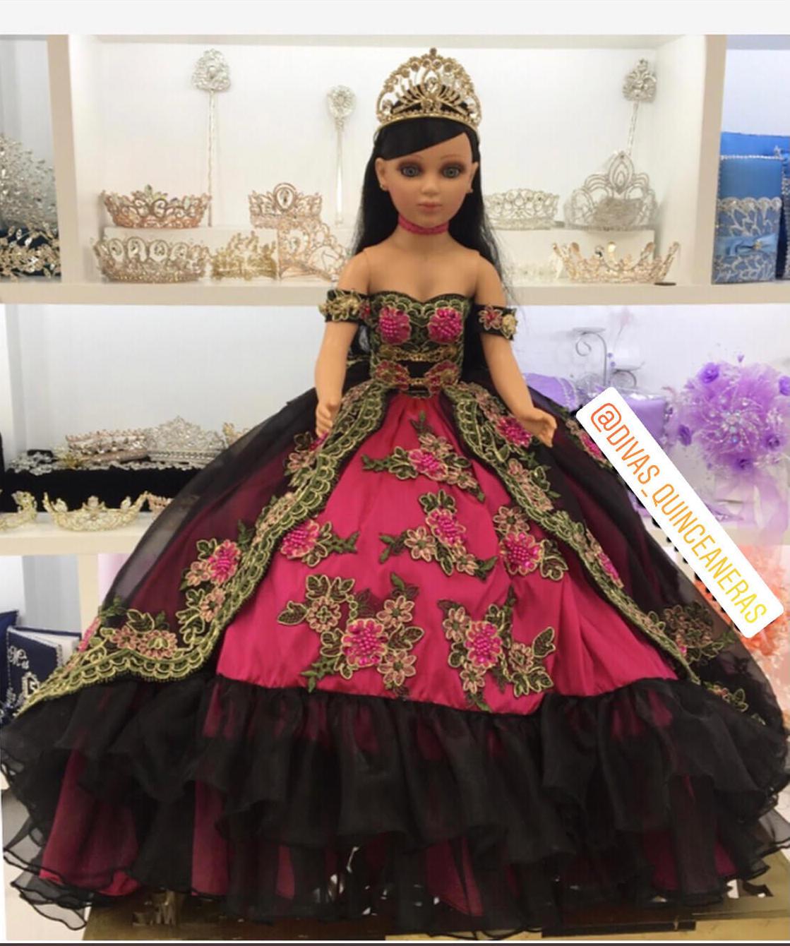 Doll or Bear in Black & Multi-Color Floral Dress