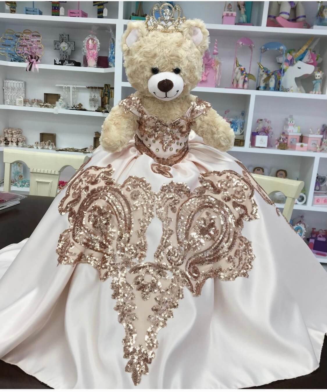 Doll or Bear with Ivory and Bronze dress