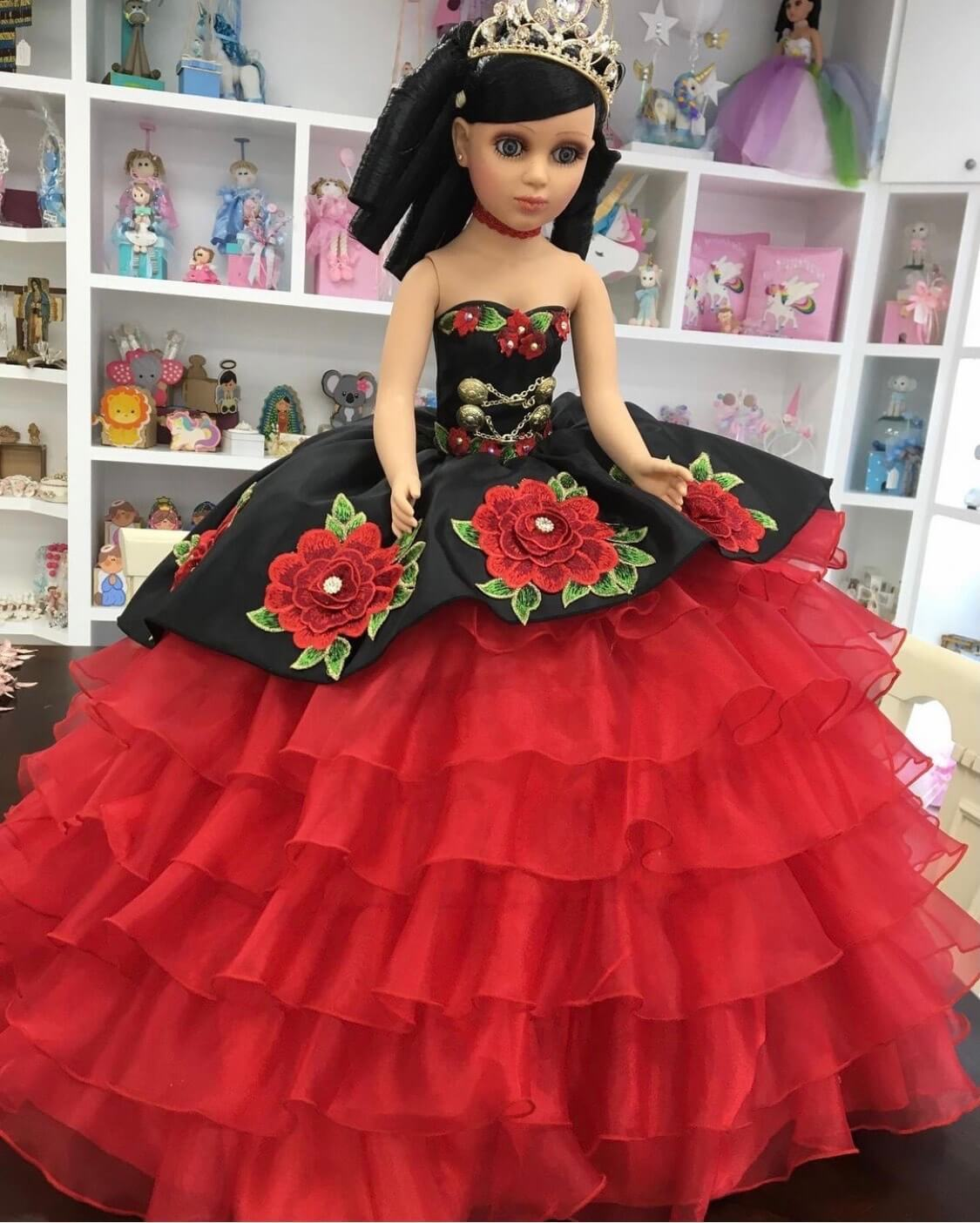 Doll or Bear in Charra Red Dress with Black