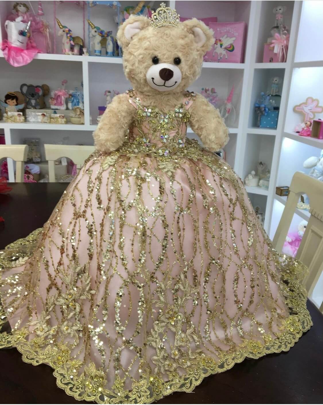 Doll or Bear in Rose Gold Dress