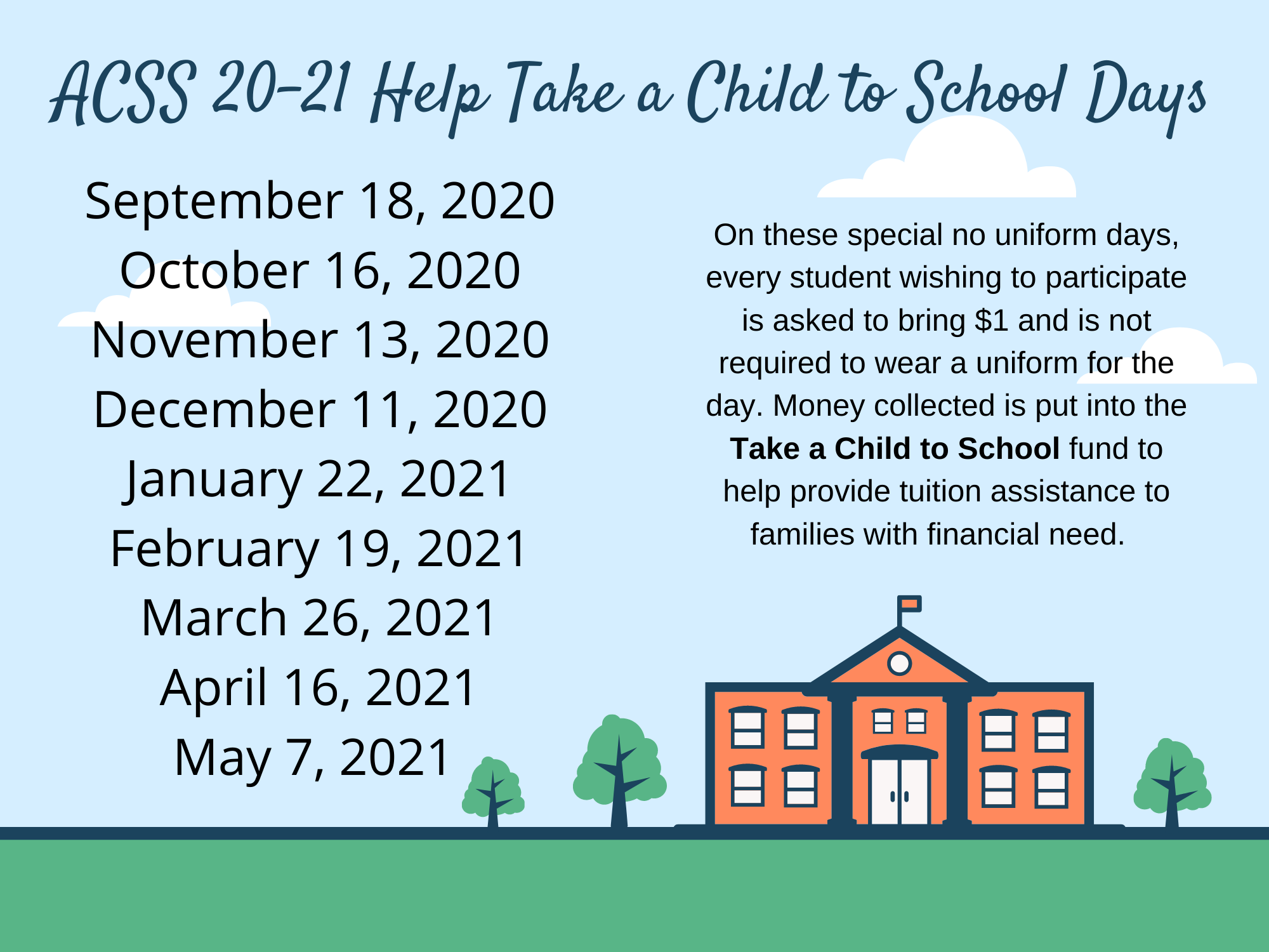Help Take a Child to School Day Coming Up
