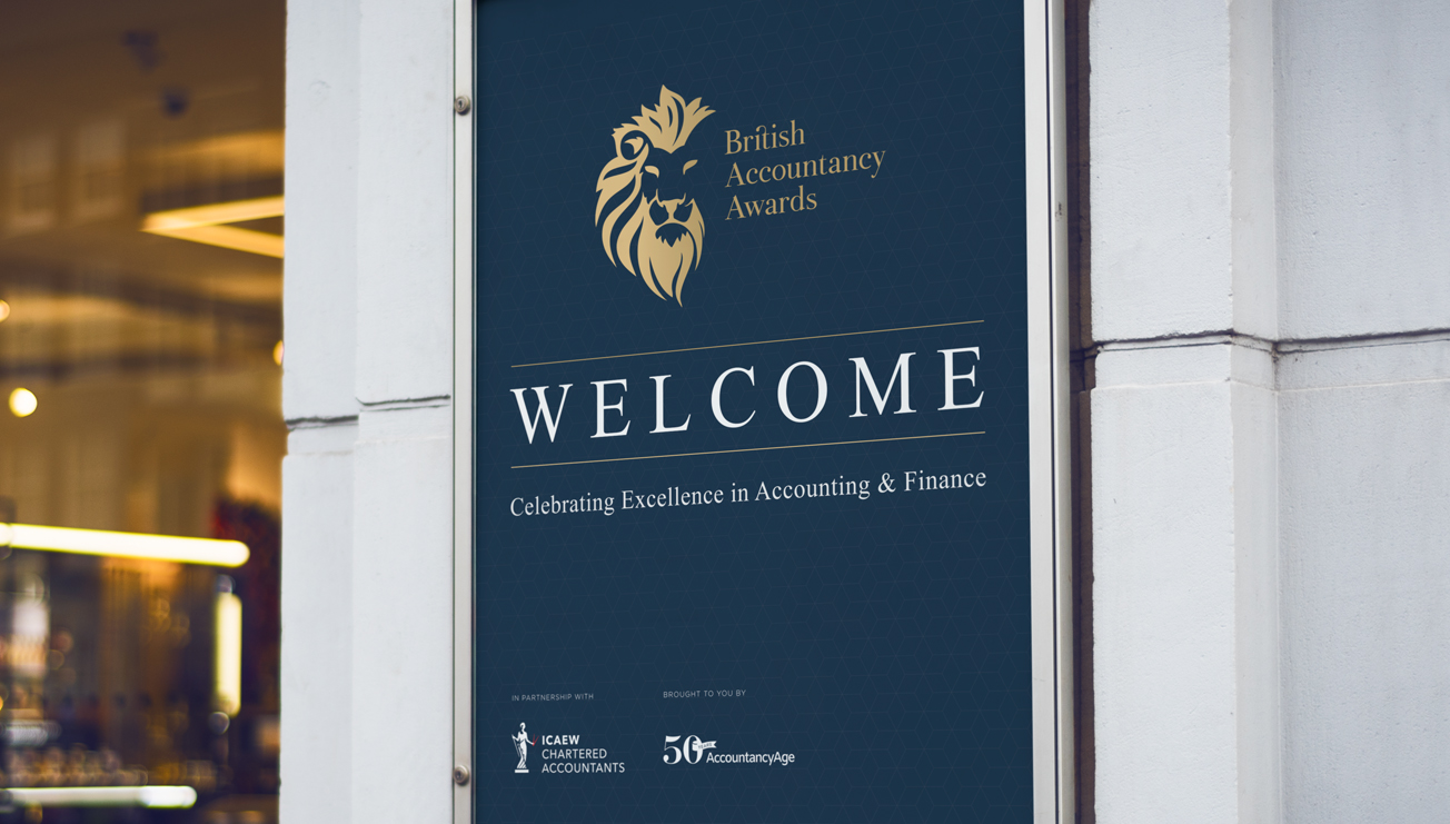 British Accountancy Awards Welcome Signage