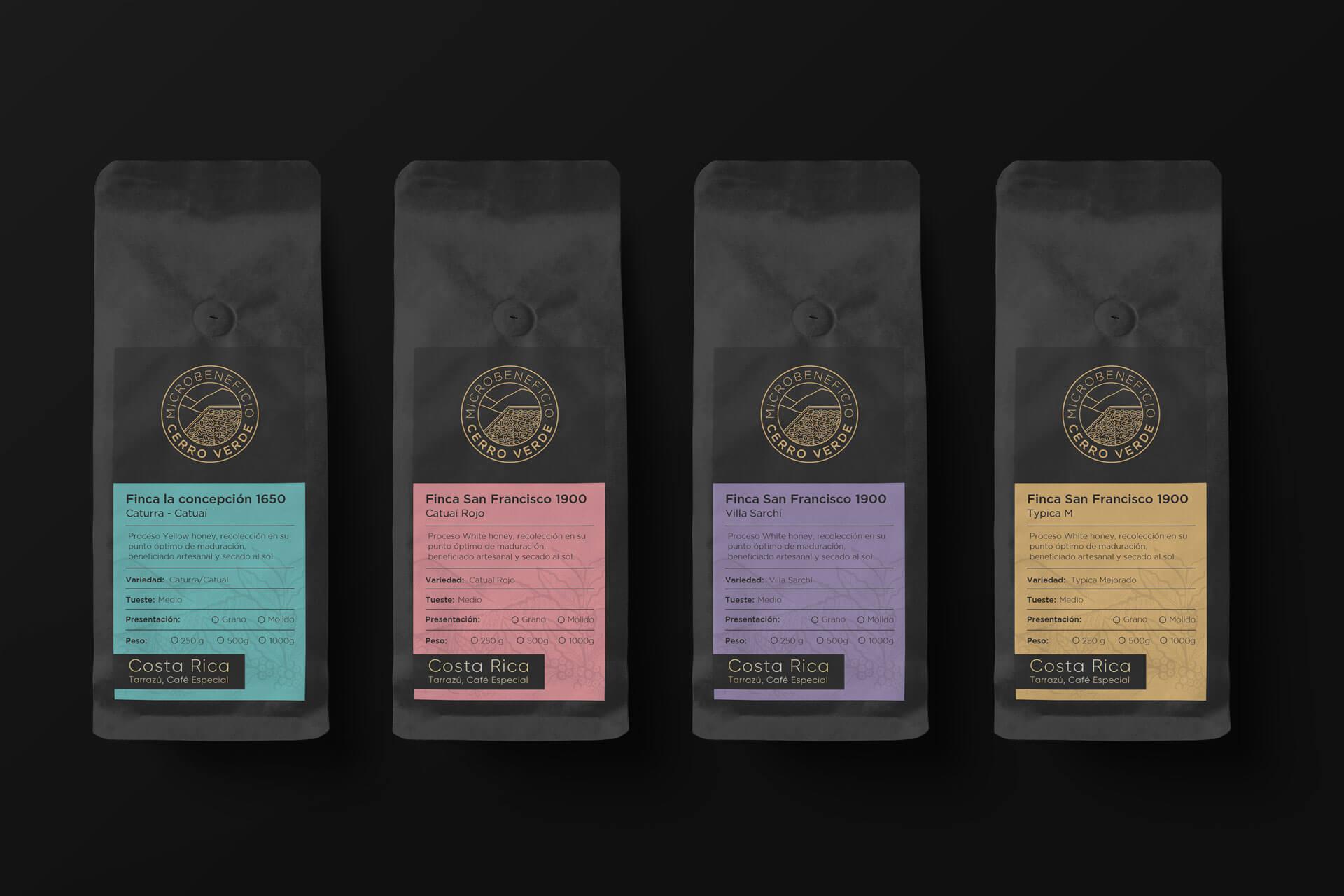 Branding para Cerro Verde Costa Rica, diseño de empaques y logo.