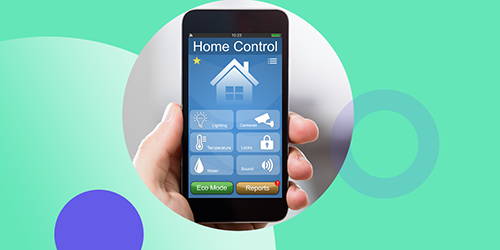 Smart phone showing home control app