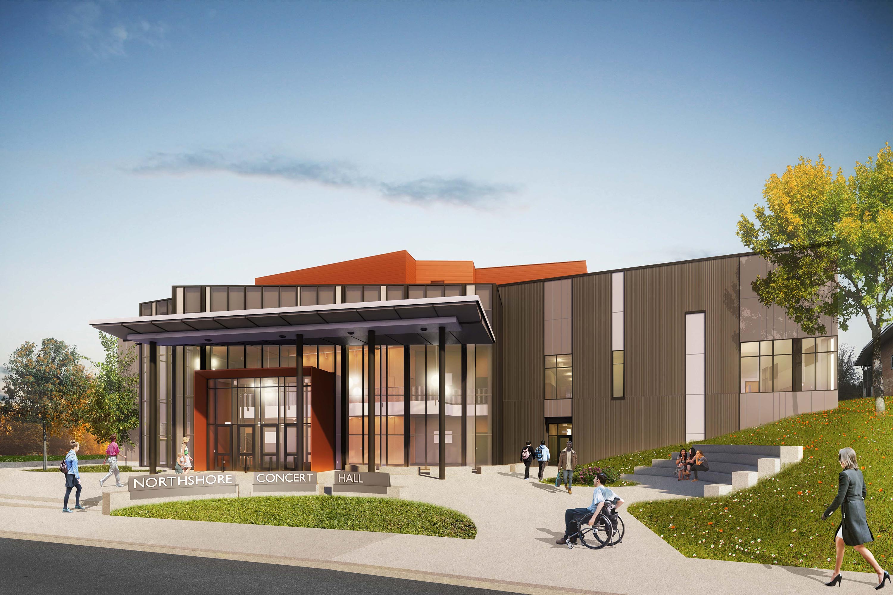 Exterior rendering of Northshore School District Concert Hall