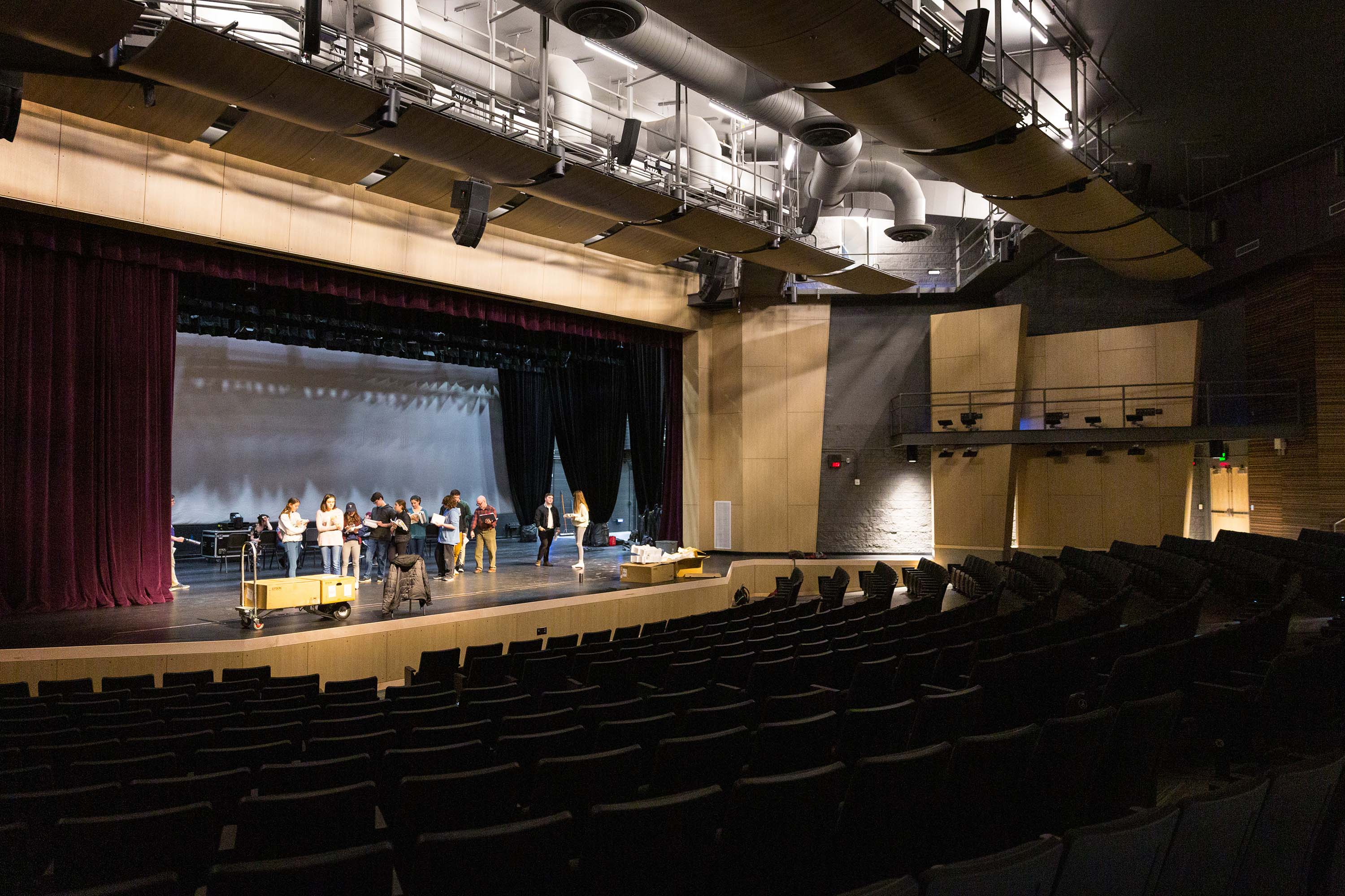 Picture of a rehearsal at Brodniak Hall