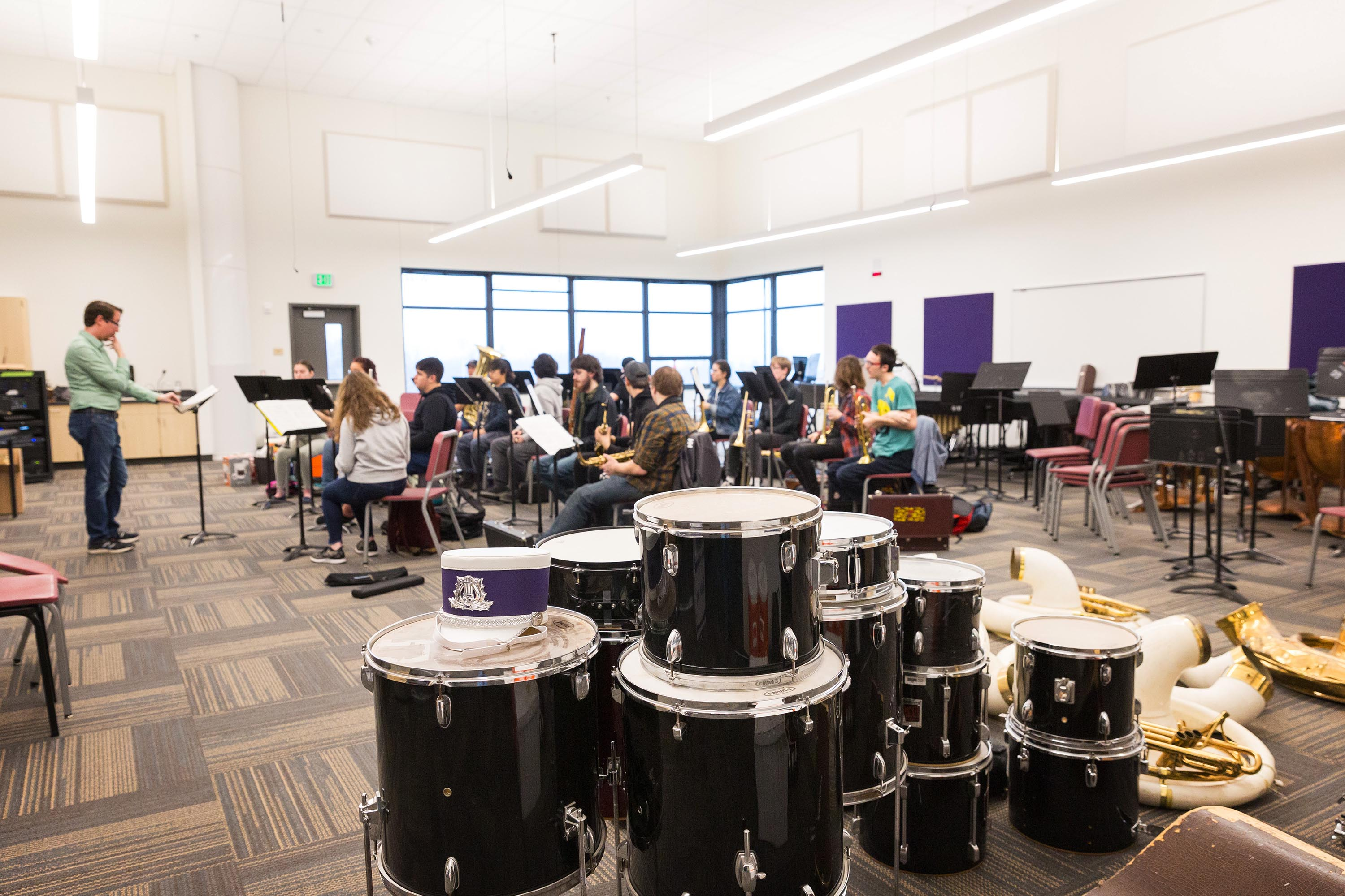Picture of Brodniak Hall band room with class