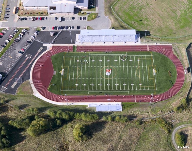 Drone shot of Monroe High School Football Stadium