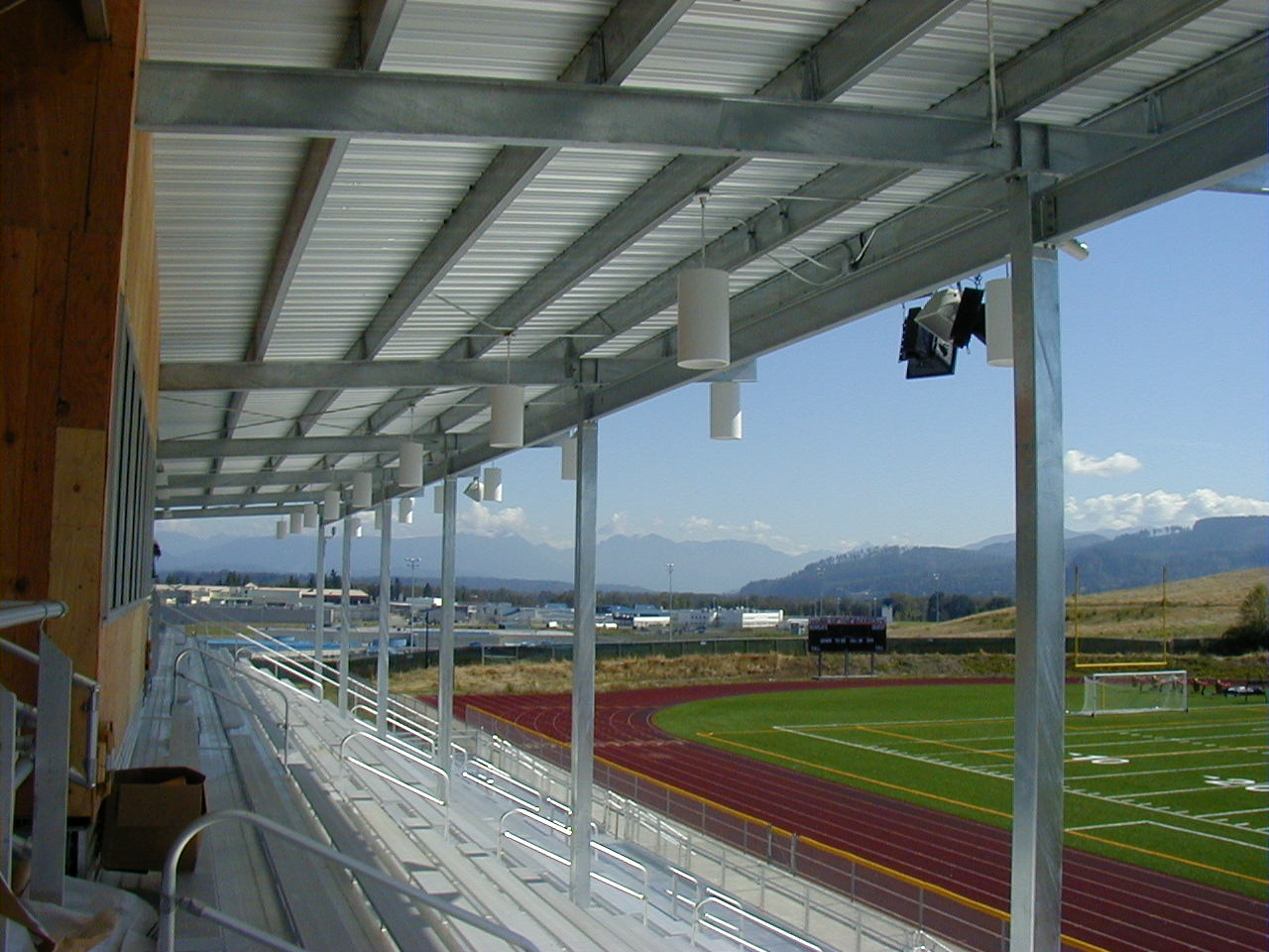 Picture from bleachers over looking the track at the Monroe High School Stadium