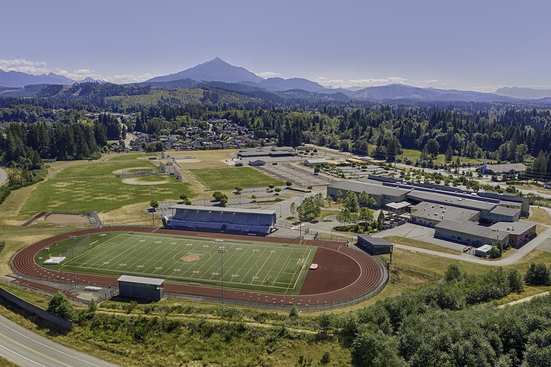 Aerial picture of Granite Falls High School Tiger Stadium