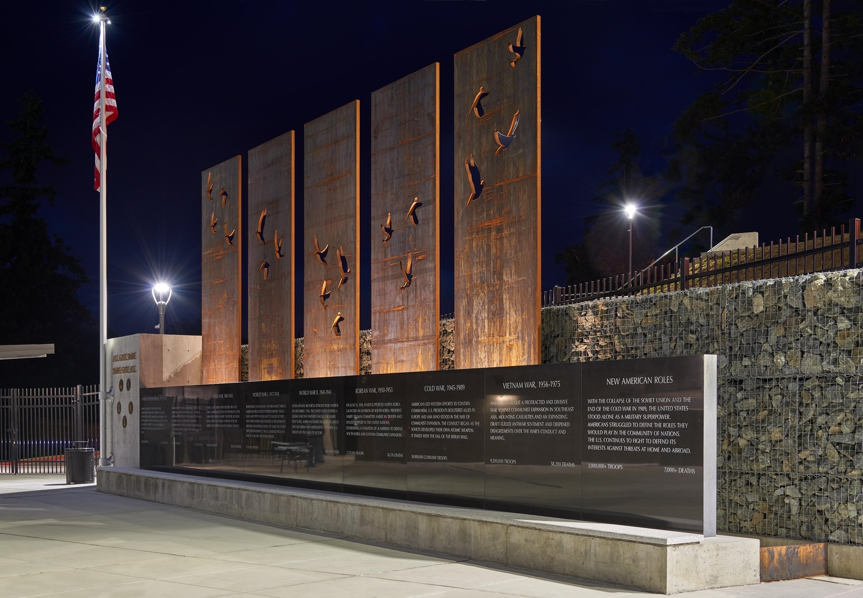 A memorial structure with the history of every U.S. war.