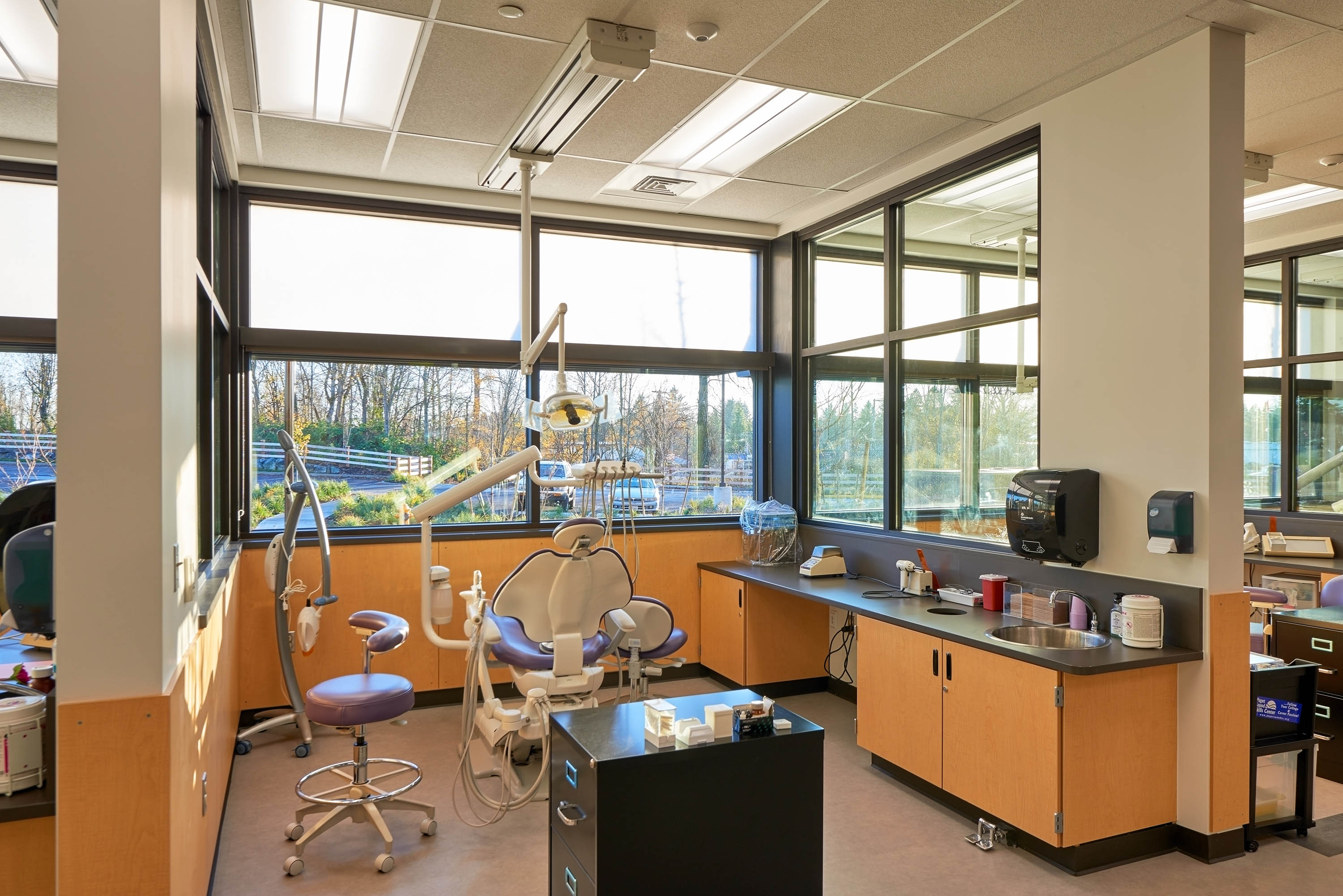 A full dental workspace in one of the medical classrooms.