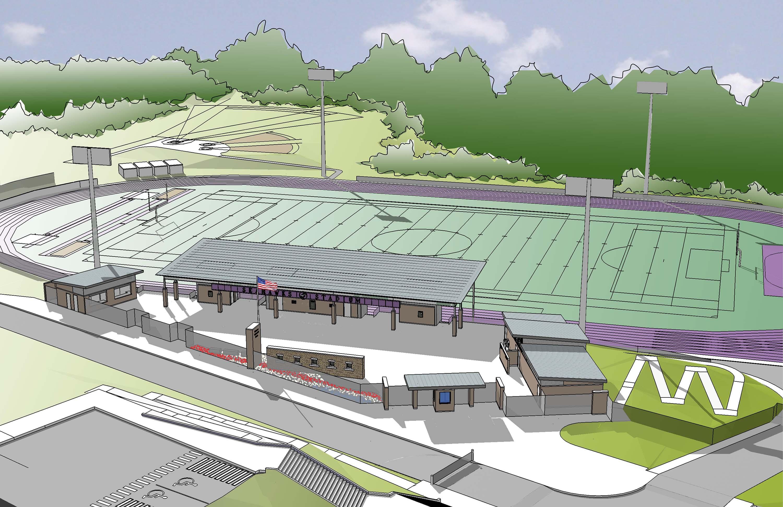 Aerial rendering of the athletics field.
