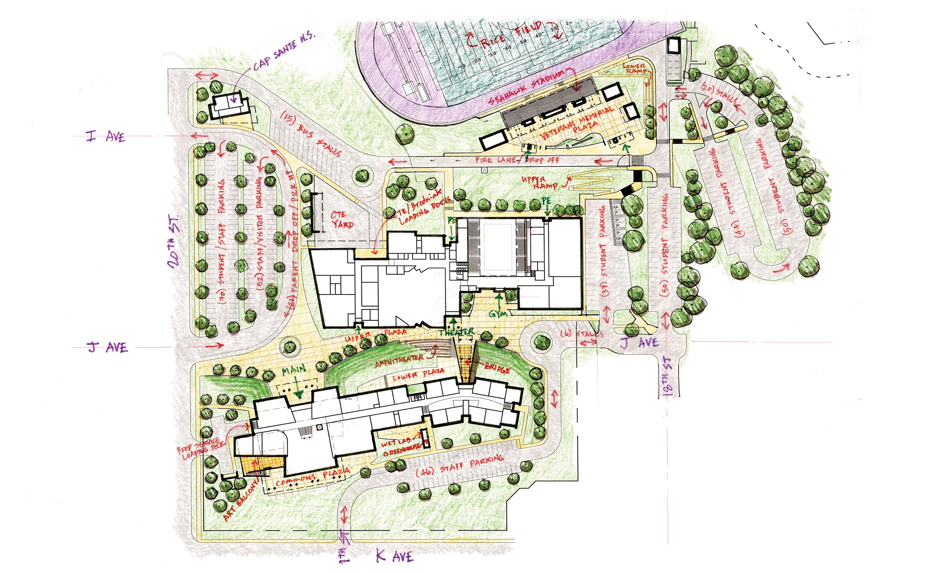 Detailed blueprint of what the future campus will look like from an aerial perspective.