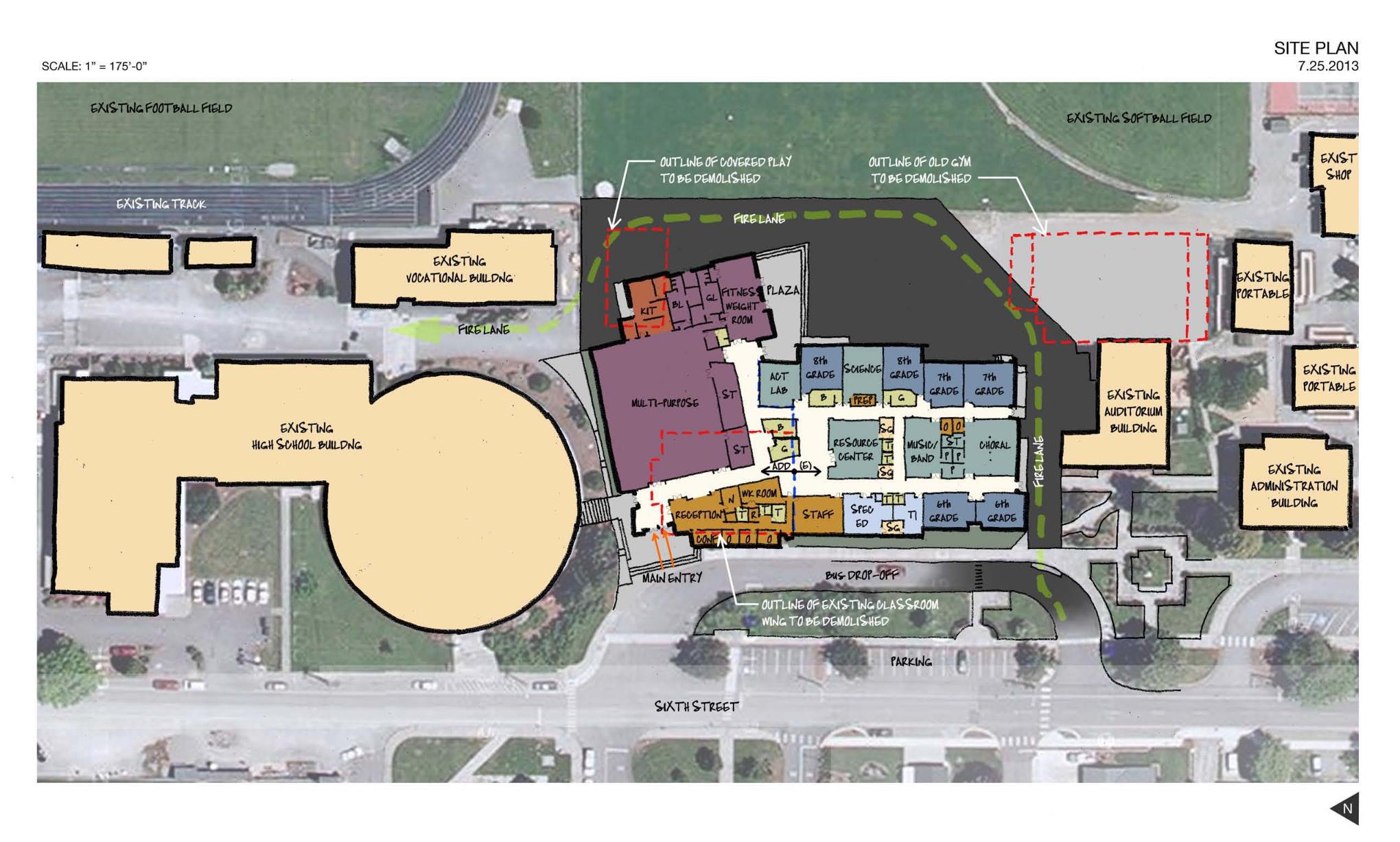 Site plan for La Conner School District.