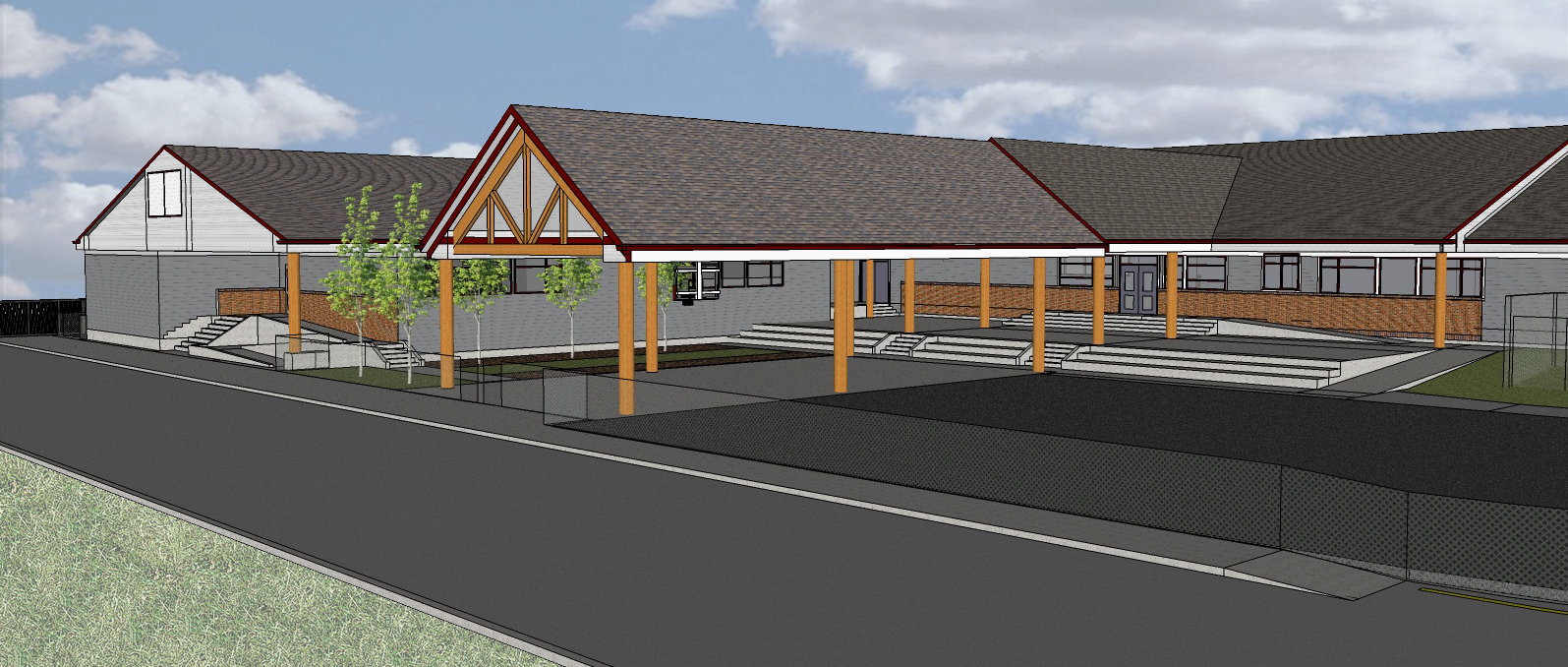 Rendering of the main entrance.