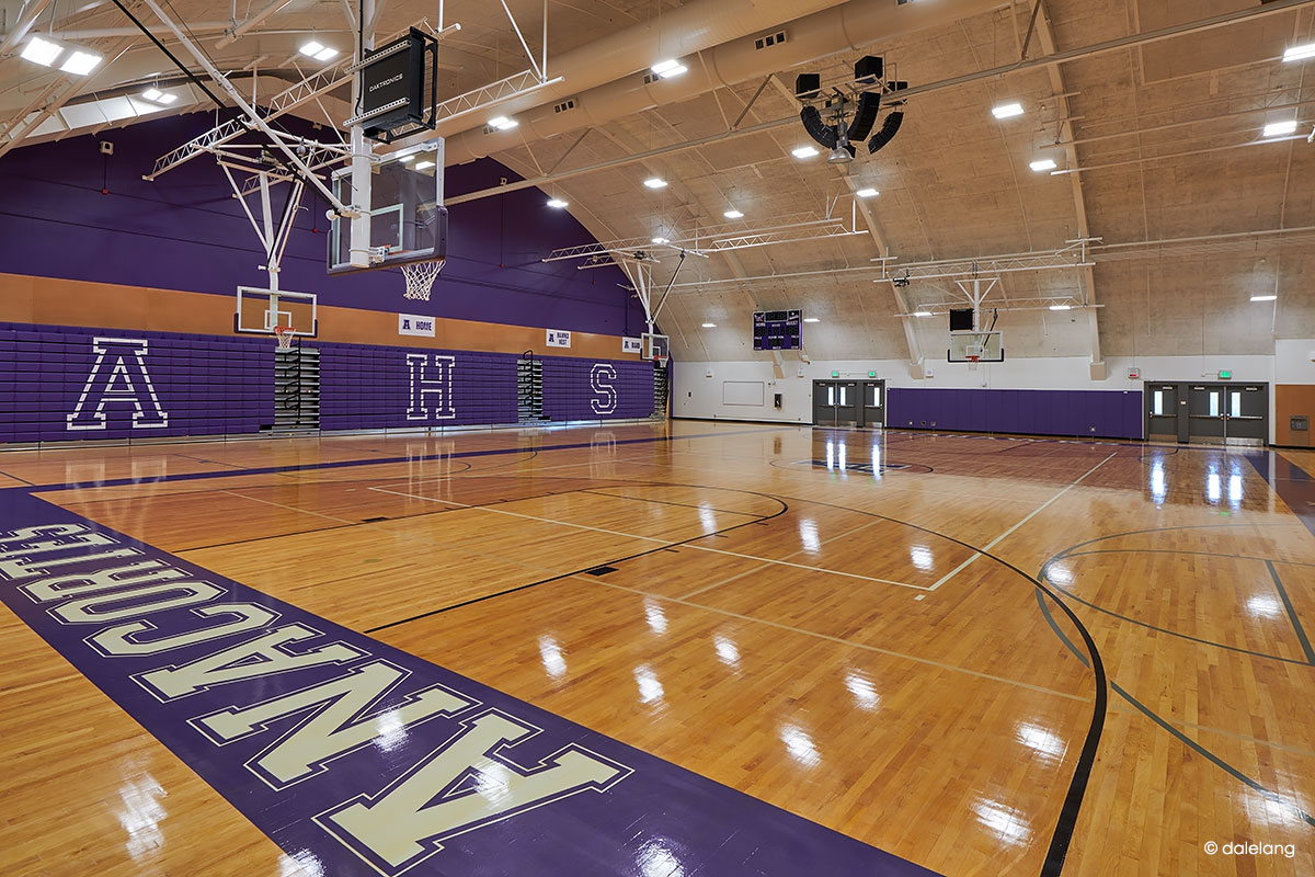 The indoor basketball court.