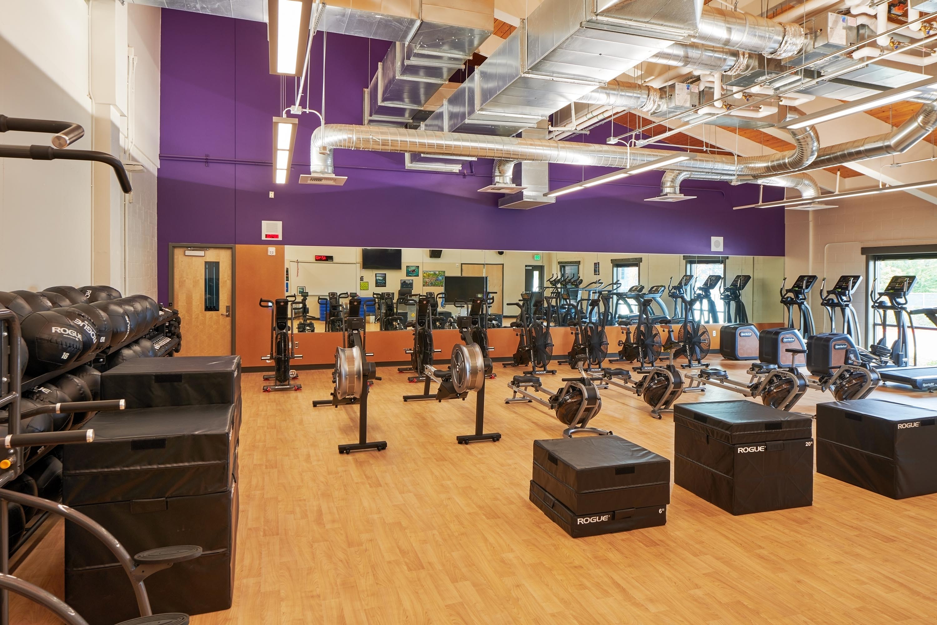 Gym room with machines and weights.