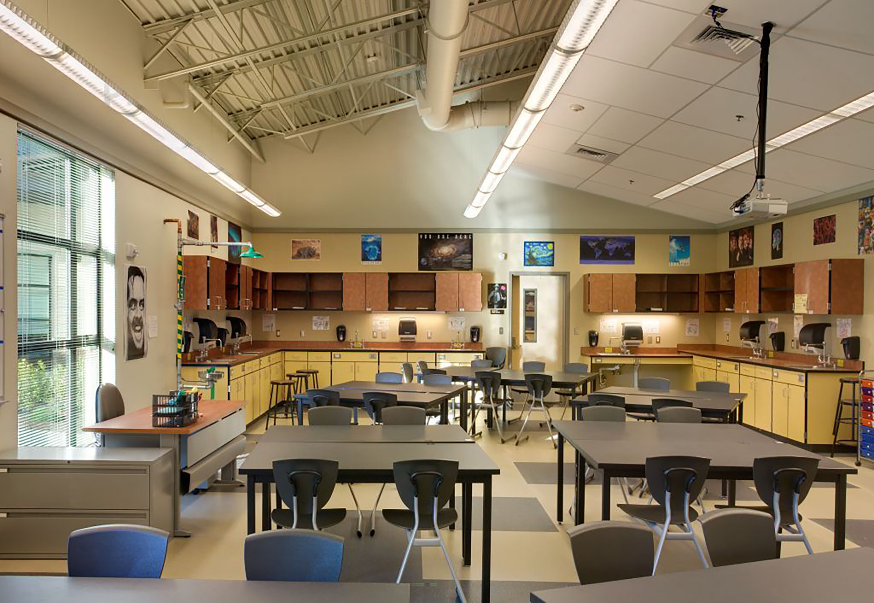 Wide photo of a classroom ready for students.