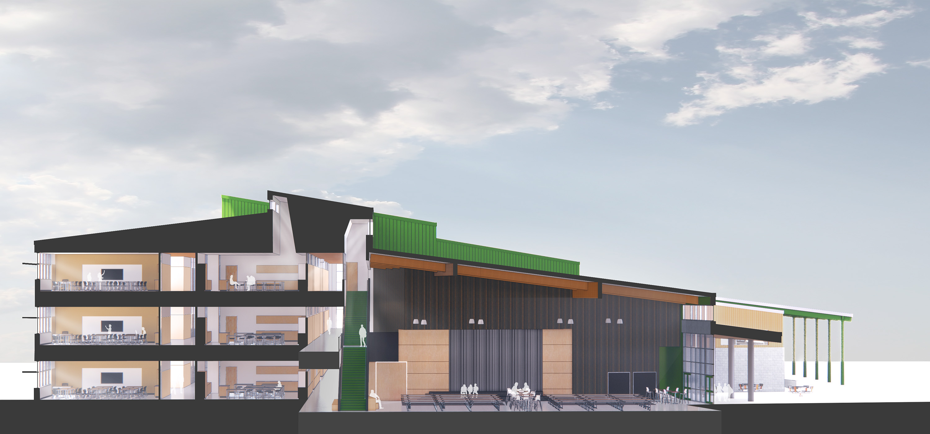 Rendering of the building and seeing multiple floors from a sideview.
