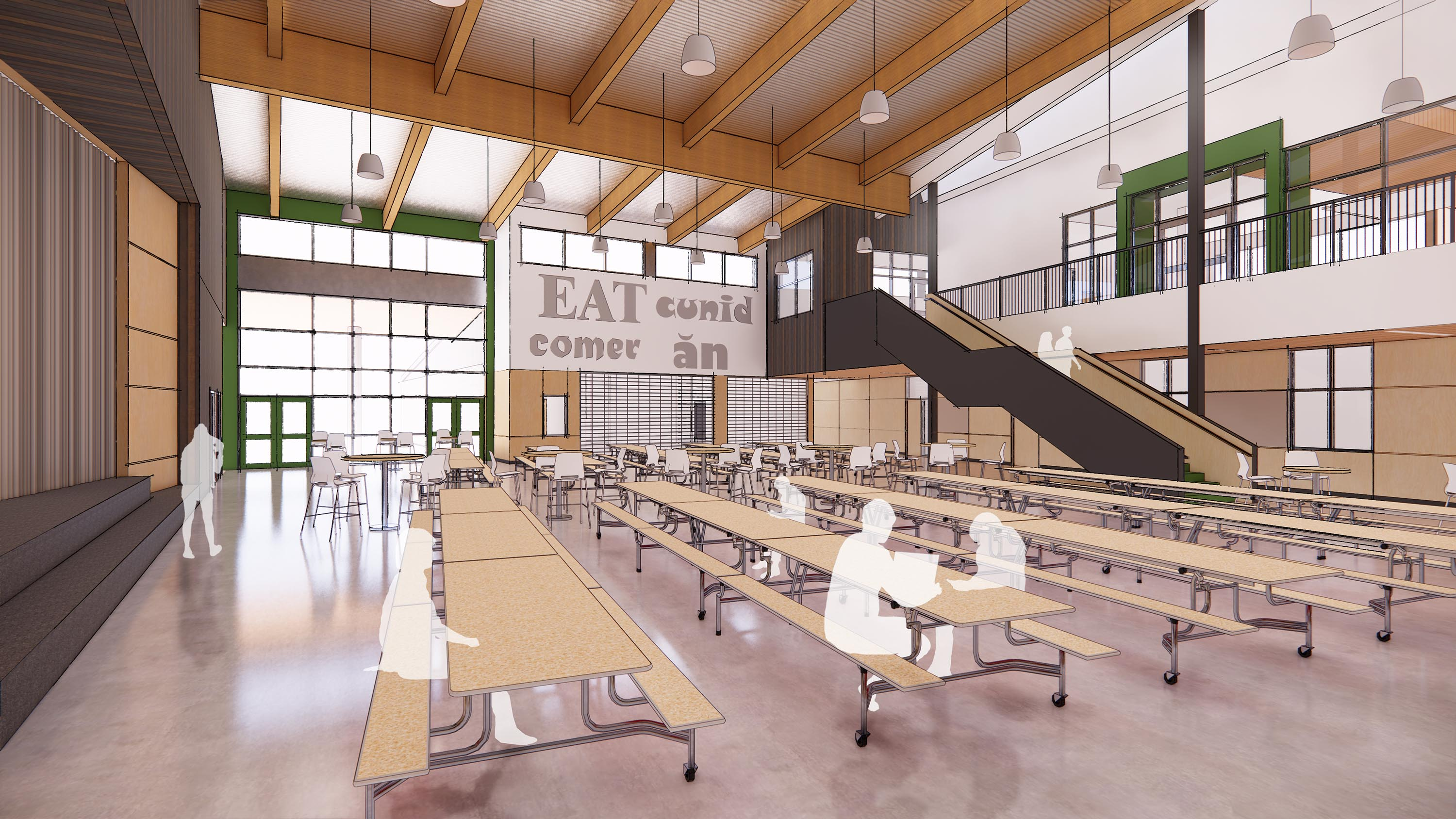Rendering of the Commons and students sitting at tables.