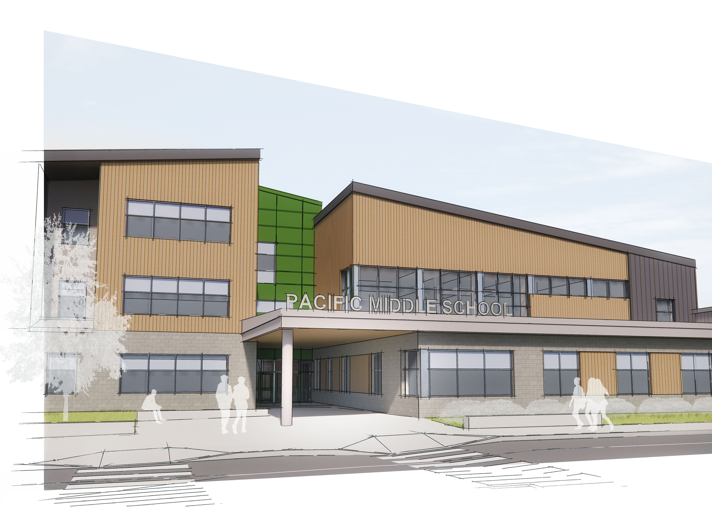 Rendering of the front of the building.