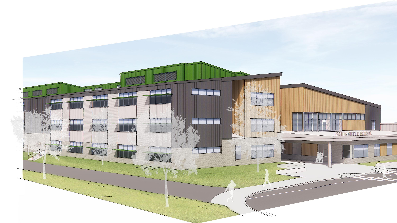 Wide rendering of the school.