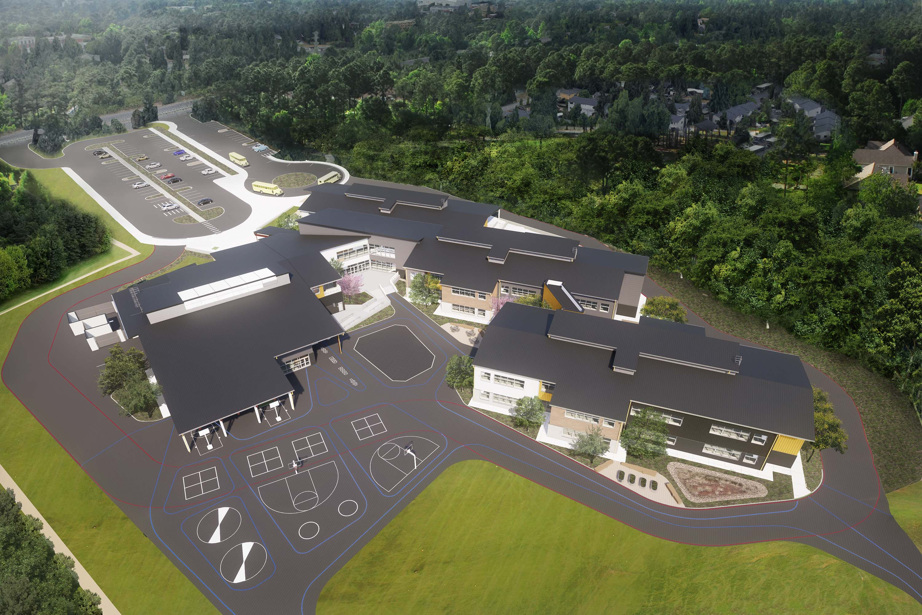 Aerial rendering of the whole campus.