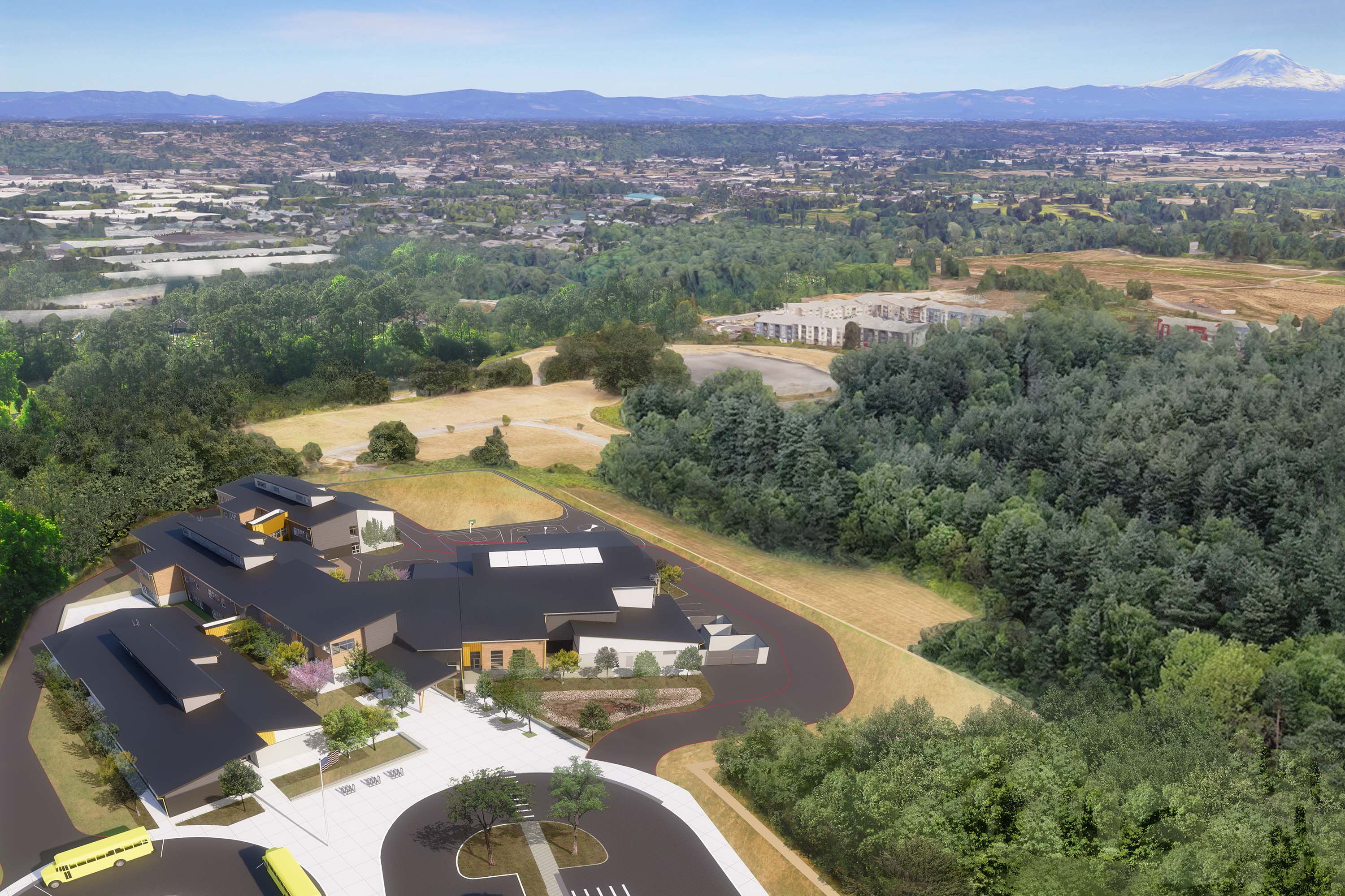 Aerial rendering of the whole campus and Mt. Rainer far off in the background.