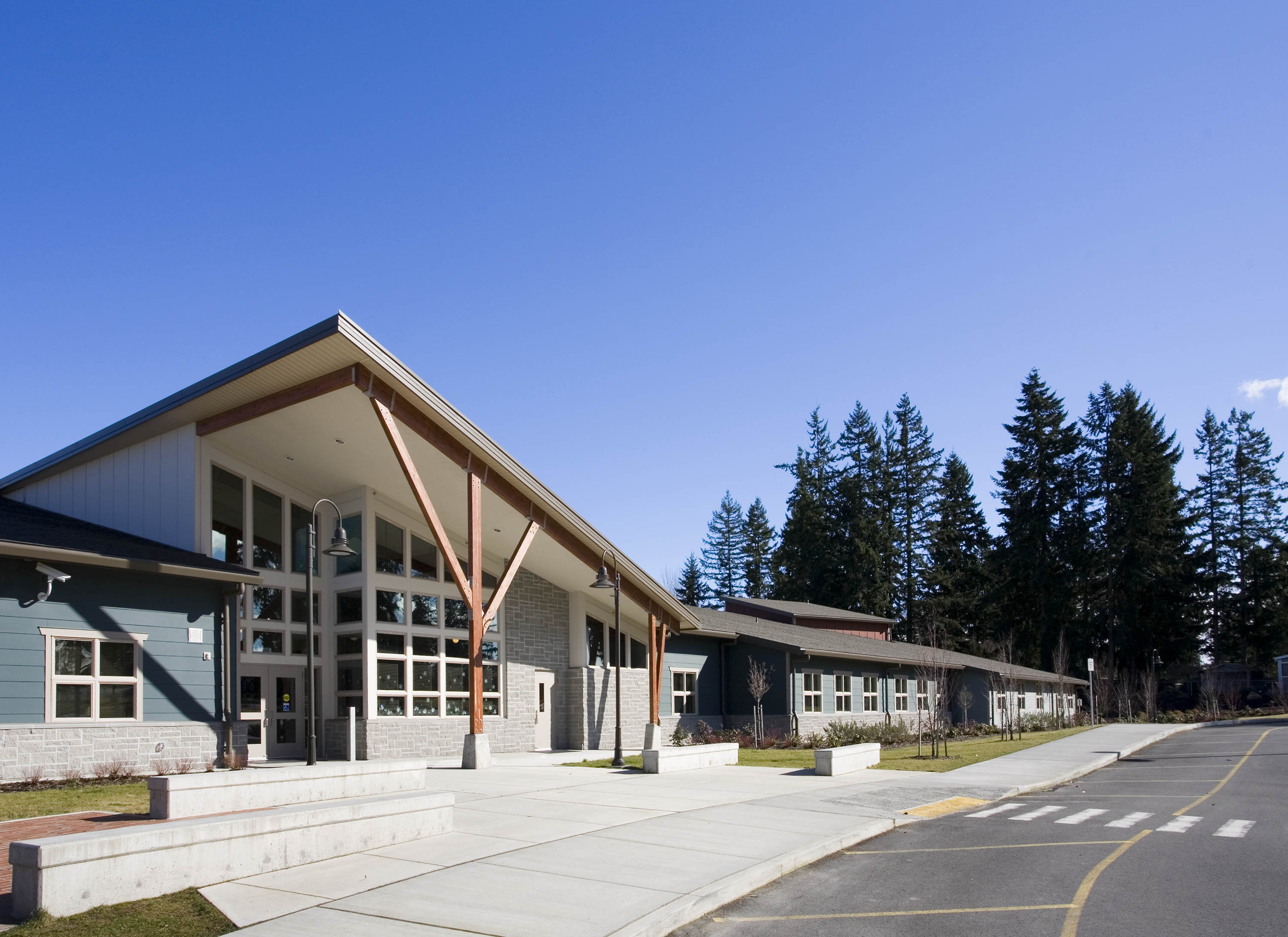 Exterior photo of the main entry.