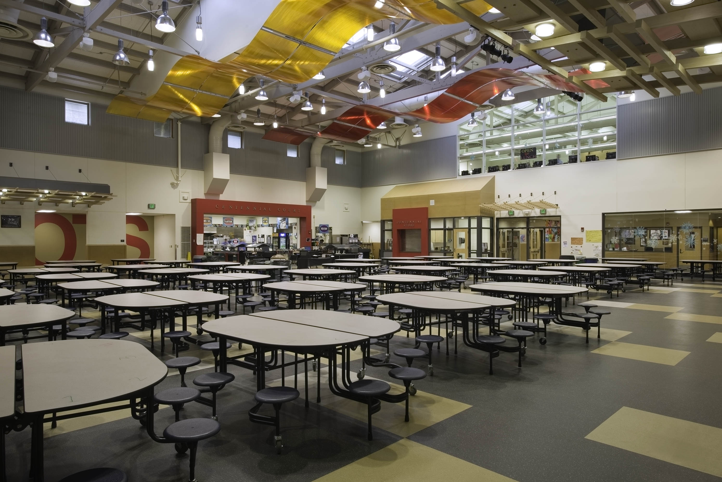 Wide photo of the lunchroom.