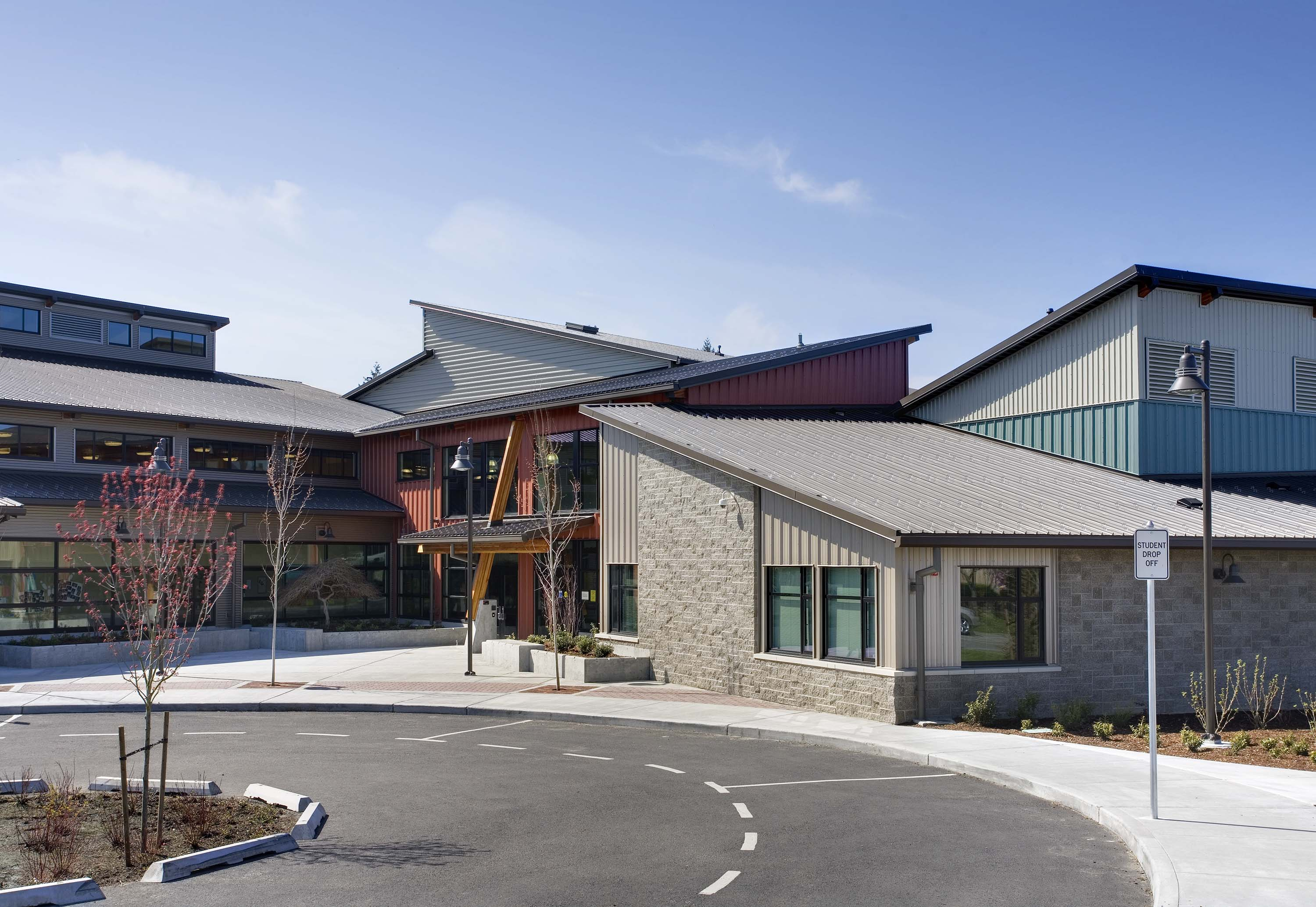 Exterior photo of the main entry and bus loop.