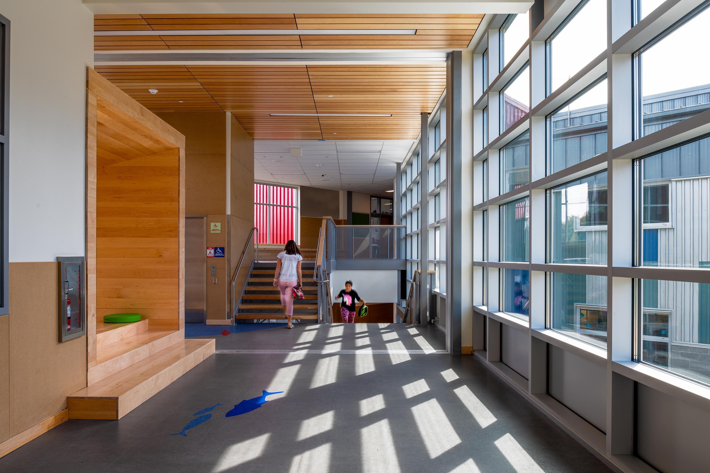 Children walking through a hallway.