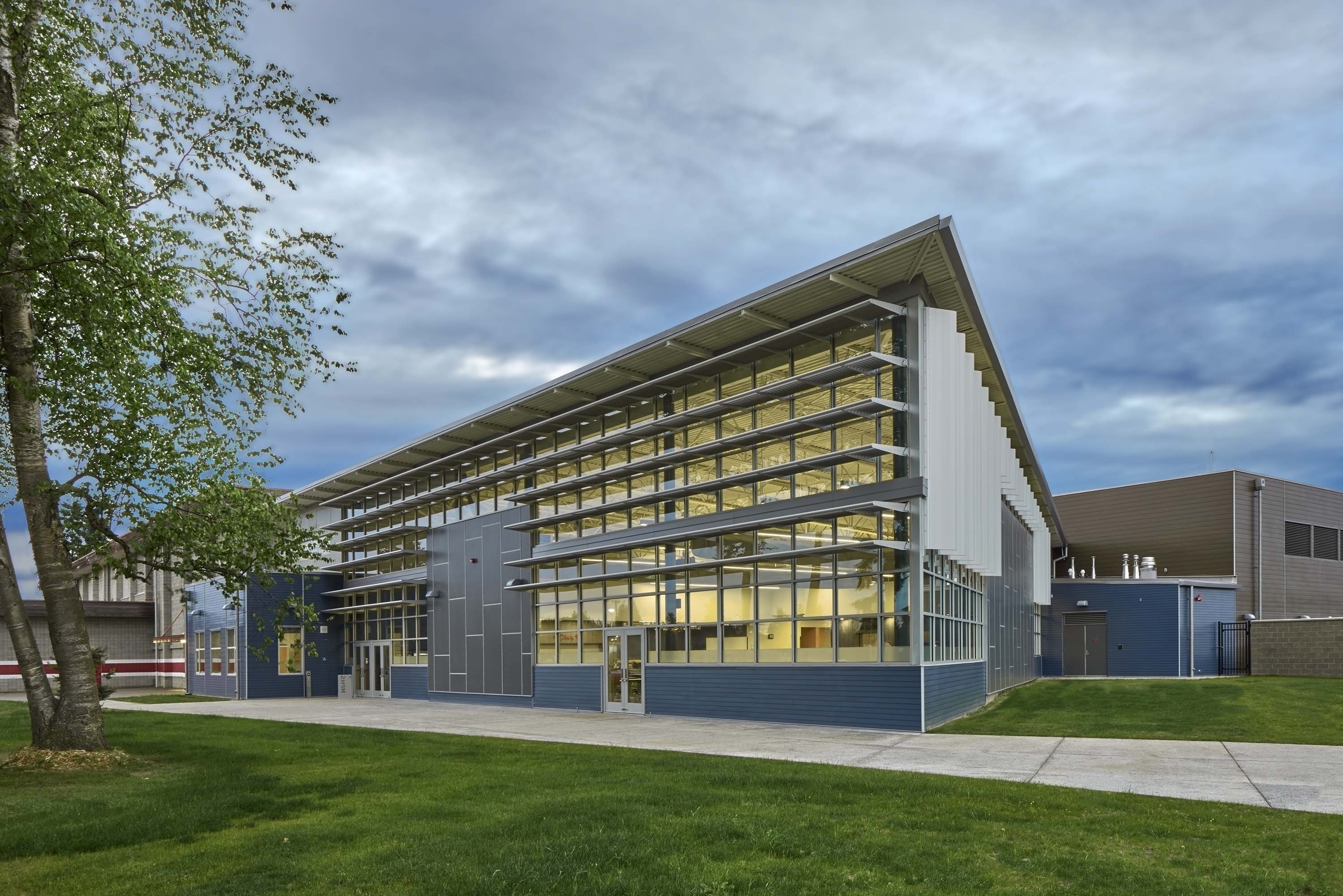 Wide photo of the exterior of the Food Commons.