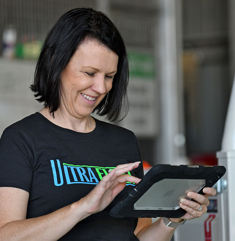 A woman using a tablet