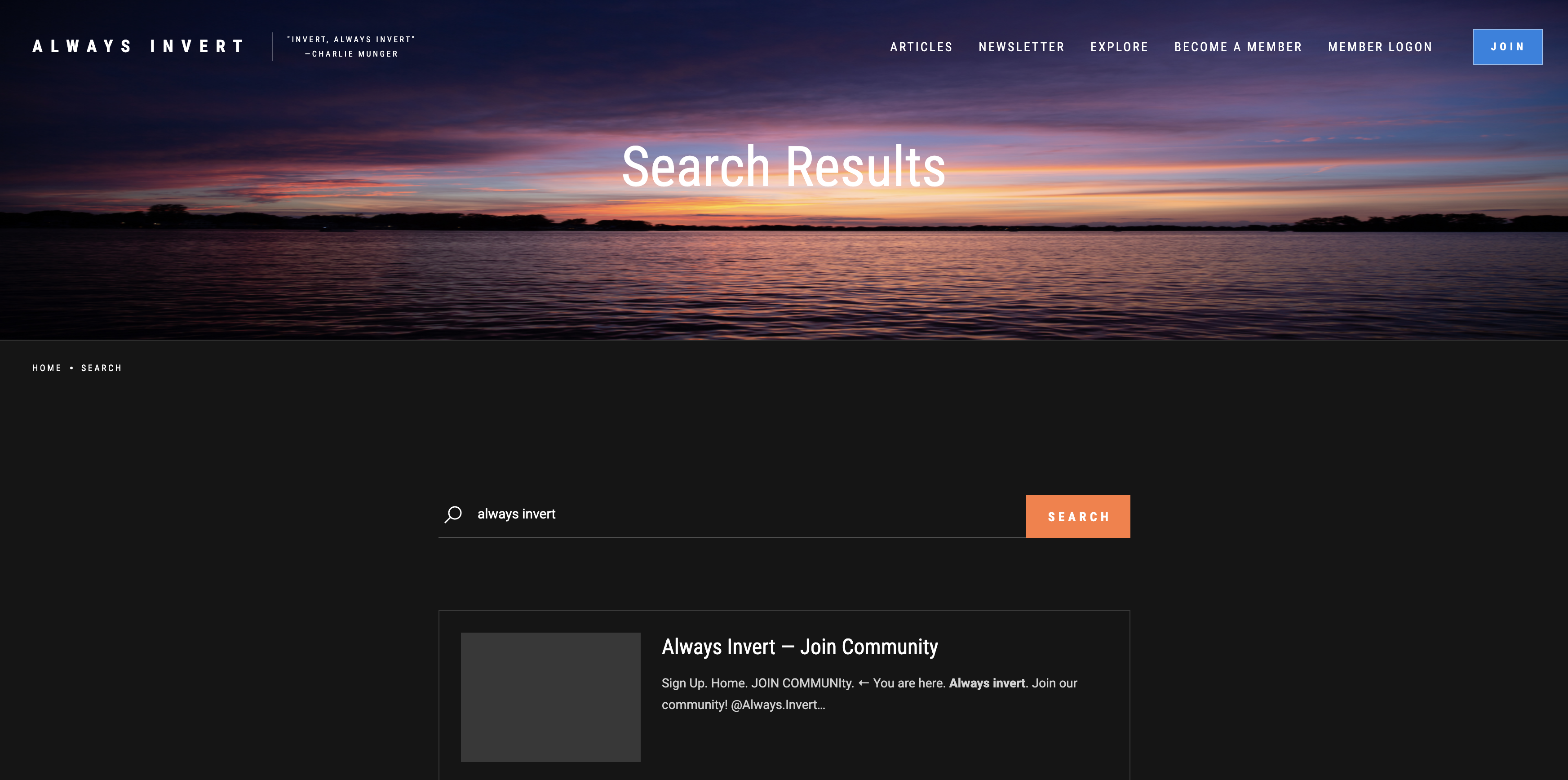 Screenshot of the Search Results web page