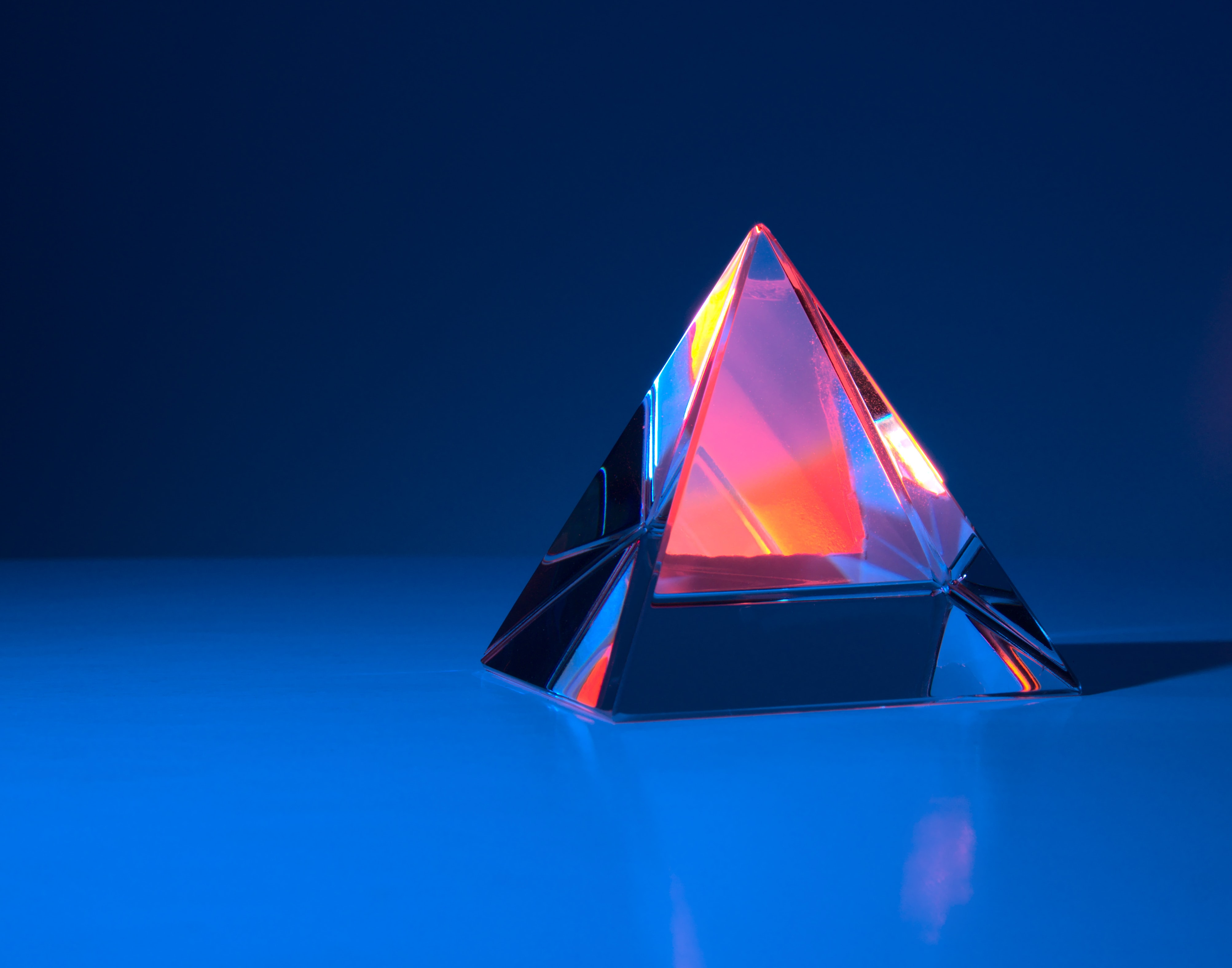 Four sided glass pyramid with beautiful light effects