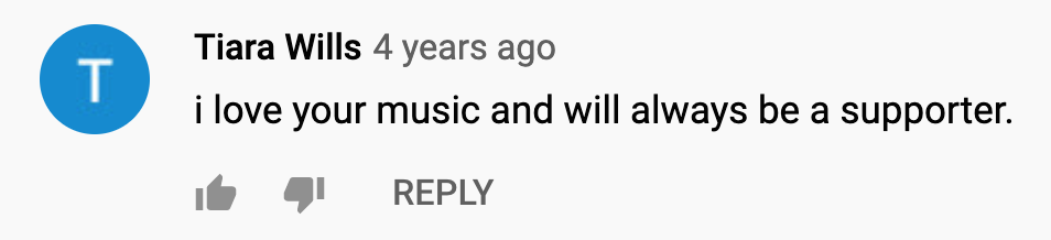 KAMAUU Youtube Comment: I love your music and will always be a supporter